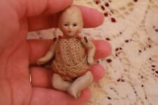 "Antique Bisque Miniature Doll House Baby 3"" Doll Crochet Dress German"