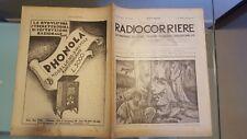 RADIOCORRIERE EIAR 1932 N21, INDUSTRIA RADIO, PUBBLICITA' RADIOMARELLI, CROSLEY