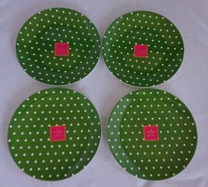 4ct NWT Kate Spade New York Polka Dots Salut Salad Melamine Plates Green CUTE!
