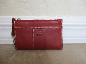 Coach Burgundy Leather Coin Purse Or Micro Wallet.