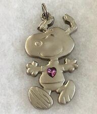 Peanuts Snoopy Pendant Purple Heart Crystal Silver Tone Dog