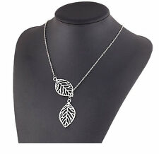 Silver Double Leaf Pendant Necklace In Stock Ships From USA