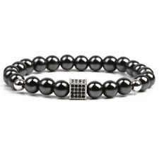 Magnetic Hematite Stone Beads Bracelet Bangle Weight Loss Therapy Health Care HF