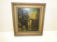 Vintage Mountain Waterfall Oil Painting in Gold Frame
