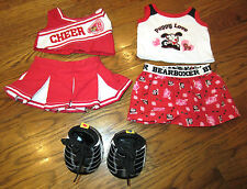 Build a Bear Outfit Set Joe Boxer Red and Black Cheer Costume Shoes