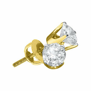 14kt Yellow Gold Womens Round Diamond Solitaire Earrings 1/20 Cttw
