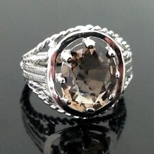 14 Karat White Gold 5.00 Carat Faceted Oval Cut Smoky Quartz Unisex Ring