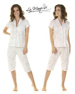LADIES FLORAL CHERRY BLOSSOM JERSEY SUMMER CROP LEG PYJAMA 3/4 LEG S-XXL.45405