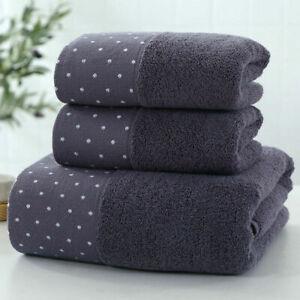 3-piece bath towel set, polka dot cotton absorbent facial wipes, 4 color options