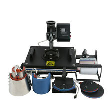 8 In 1 Digital Heat Press Machine Transfer Sublimation T-Shirt Mug Hat 15x12""