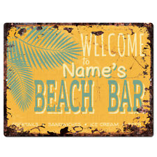 PP4228 BEACH BAR NAME'S Custom Personalized Chic Sign Decor Funny Gift