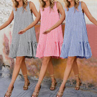 Womens Summer Sleeveless Beach Sundress Ladies Loose Check Mini Dress Plus Sizes