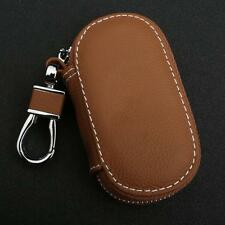 Universal Leather Car Key Holder Auto FOB Remote Bag Case Brown w/ Zip Keychain