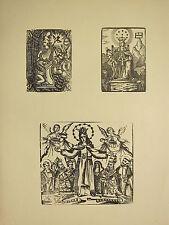 Antigua Imagen Religiosa xilografía impresión ~ medieval Santos