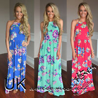 UK Womens Floral Holiday Long  Dress Ladies Summer Paisley Maxi Dress Size 6-16
