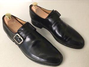 Alfred Sargent English Eden Monk Black Leather Shoes UK 9.5F 847 6134