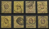 KEVII. 3d.Values-8 Examples-Fine/V.Fine Used-Above Average Condition.  Ref:13141