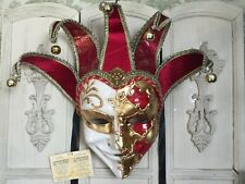 NWT  La Mashera Del Galeone made in Venice Italy Large Mask Red Gold Cream NEW