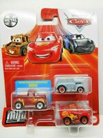 DISNEY PIXAR CARS MINI RACERS 3 Pack Hot Rod Smokey River Scott Lightnin McQueen
