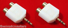 """2X 3.5MM 1/8"""" Stereo Male to (2) RCA Female Jacks Audio Y Splitter Adapter VWLTW"""