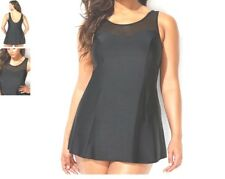 Plus Size Woman Within Swimsuits Sexy Mesh Neck Swimdress Swimsuit 14 Black K5