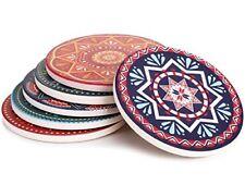 New Lifver 6-Piece Absorbent Stone Coaster Set Drink Spills Coasters Mandala NIB