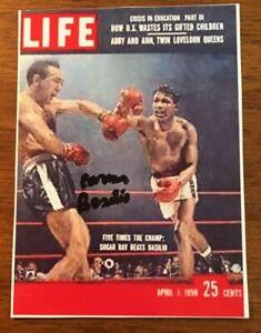 "Carmen Basilio Boxing Legend Signed Autographed Auto Index Card Photo 4""X5"""