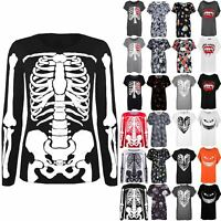 Womens Halloween Costume T Shirt Ladies Skeleton Bones Fancy Dress Coustume Top