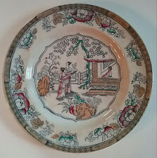 """Tea House / Chinese Pattern 1870 Polychrome Cabinet Plate 10 1/4"""" Hope Carter"""