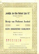 NEDERLAND- JAVA-CHINA--LINE -AANDEEL FL.1000.- 1951 =SPECIMEN = ( de BUSSY)