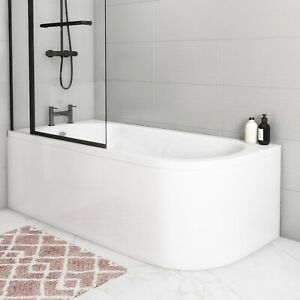 Jersey J Shaped Left Hand Bath with Bath Panel - 1700mm x 750mm