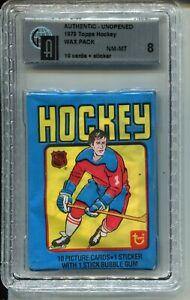 1979 Topps Hockey Card Wax Pack Wayne Gretzky Rookie Year Graded GAI NM MINT 8