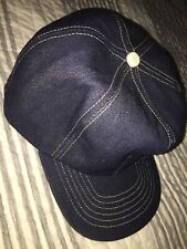 VINTAGE 70s 80s DENIM BLUE Large BLANK 6 Panel Hat Cap L Stiff RAW USA