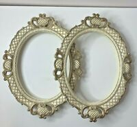 Vintage Pair Oval Frames Shabby Chic Victorian Cottage FarmHouse White 13.5x10.5