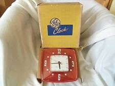 NEW VINTAGE GENERAL ELECTRIC 2H34 RED KITCHEN CLOCK WORKS