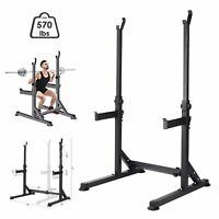 Gym Fitness Adjustable Barbell Stand Squat Rack Bench Press Weight Lifting Black