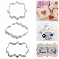 3Pcs Stainless Steel Fancy Plaque Frame Mould Cookie Cutter Fondant Cake d Top