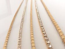 2M Sew Stitch on Diamante Rhinestone Crystal Rope Chain Gold Trim SS18 4.3mm