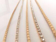 2M Sew Stitch on Diamante Rhinestone Crystal Rope Chain Gold Trim SS18 4.3mm