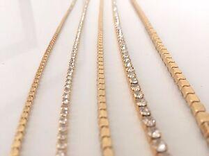 2M Sew Stitch on Diamante Rhinestone Crystal Rope Chain Gold Trim UK