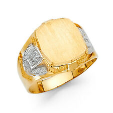 Men 14k Yellow White Real Gold Vintage Engraveable Fashion Wedding Ring Band