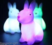 7 Changing Colors Cute Rabbit Shape LED Night Light Decoration Lamp Kids Gift