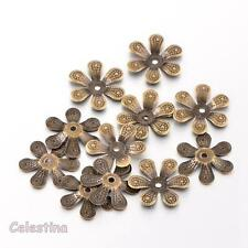 50 x Antique Bronze Bead Caps Flower - 16mm Bead Cone Iron Daisy Cap