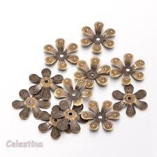50 x Antique Bronze Bead Caps Flower - 16mm Bead Cone Iron Daisy Cap