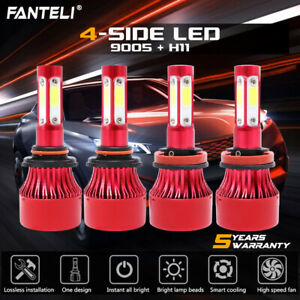 4 Bulbs Kit H11 9005 6000K LED 4480W 672000LM Combo Set Headlight High Low Beam