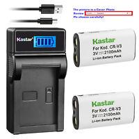 Kastar Battery LCD Charger for Vivitar CRV3 V3315 V3330 V3675 V3695 V3705 V3715