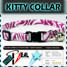 Safety  CAT KITTEN  Breakaway Collar ~ PINK ZEBRA SKIN ~