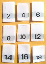 SIZE 2 4 6 8 10 12 14 16 18 CLOTHING WOVEN LABEL 100 PC