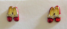 Ruby Slippers Earrings Wizard of Oz Crystal Accents Bow Red Shoes Pierced New