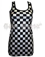 BLACK & WHITE CHECKER CHESS CHECK PRINT LONG VEST TANK TOP DRESS GOTH EMO PUNK